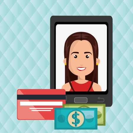 woman credit card: woman cellphone credit card vector illustration graphic