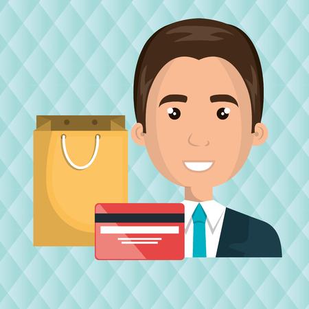 man credit card gift vector illustration graphic