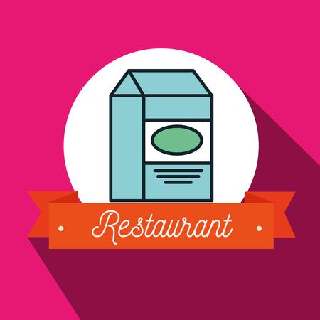 carton de leche: caja de cartón de leche restaurante illusration vector gráfico