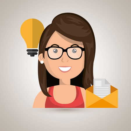 woman message document icon vector illustration graphic