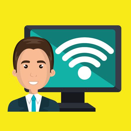 blazer: man pc wifi web vector illustration graphic