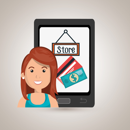 woman cellphone: woman cellphone credit card vector illustration graphic