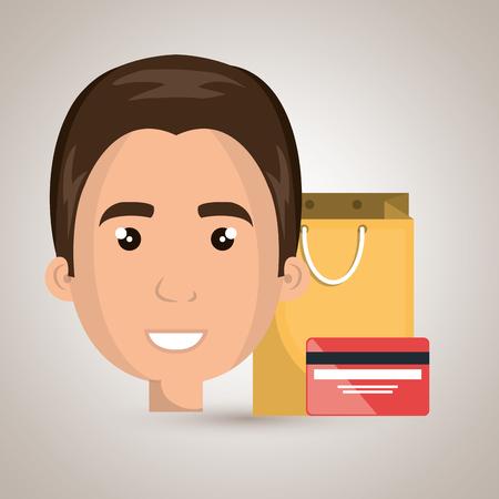 woman credit card: man credit card gift vector illustration graphic