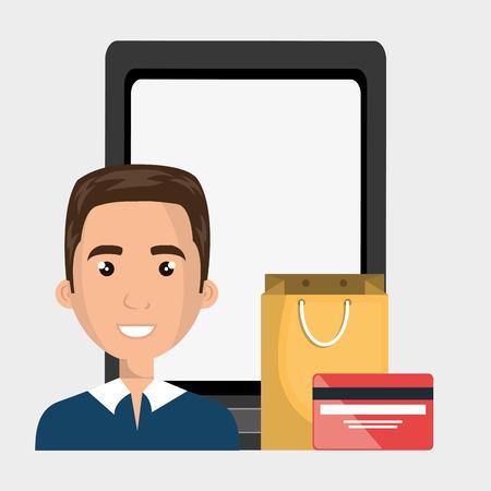 blazer: man cellphone credit card vector illustration graphic