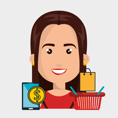 woman basket mobile money vector illustration graphic Illustration