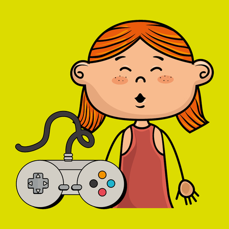 redhair: girl game control icon vector illustration graphic