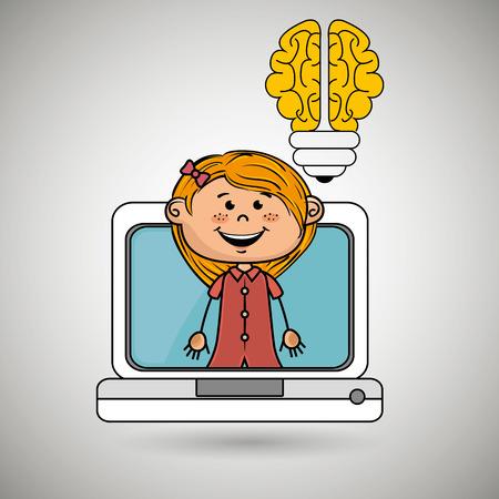 girl infant pc idea vector illustration graphic