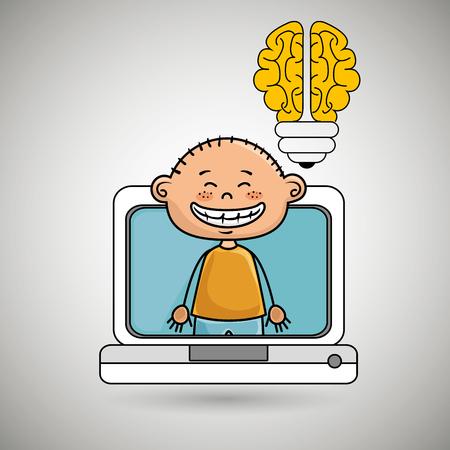 boy infant pc idea vector illustration graphic Illustration