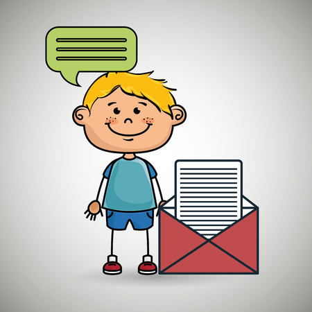 self employed: boy guy message chat vector illustration graphic Illustration