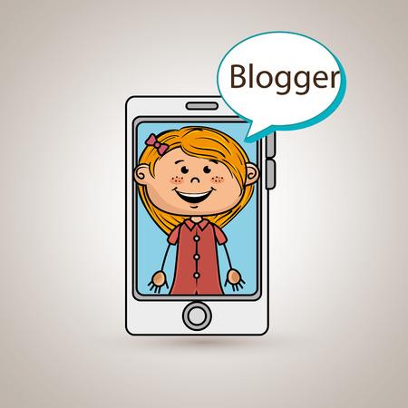 phoning: girl cellphone blogger web vector illustration graphic