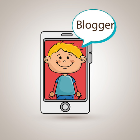 phoning: boy cellphone blogger web vector illustration graphic