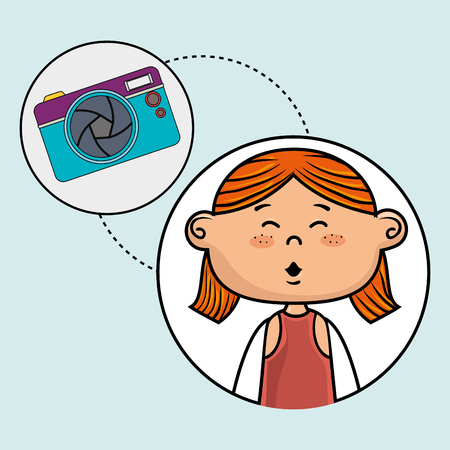 girl camera photo images vector illustration graphic