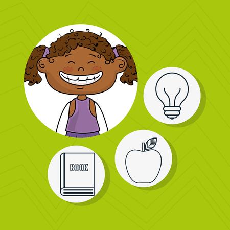 girl school creative vector illustration graphic Illustration