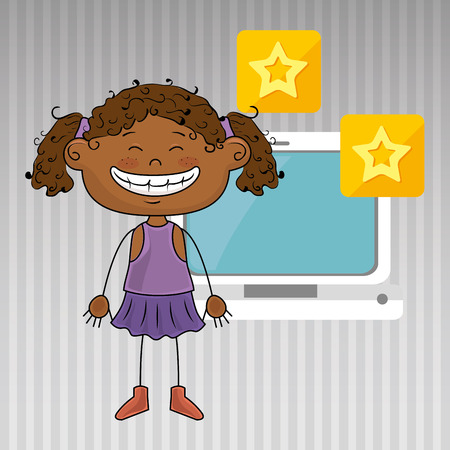 curly tail: girl computer apps web vector illustration graphic