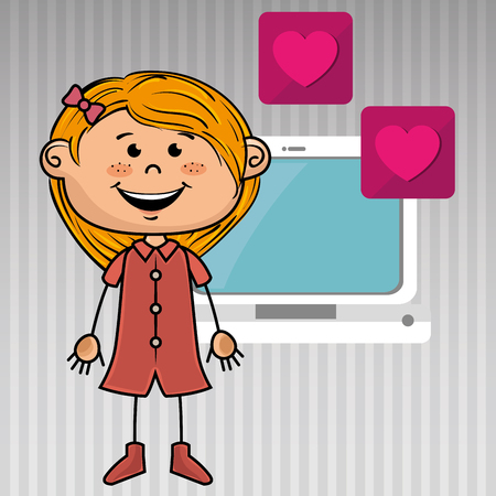 girl computer: girl computer apps web vector illustration graphic