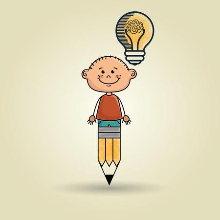 kid drawing: boy pencil idea icon vector illusration graphic