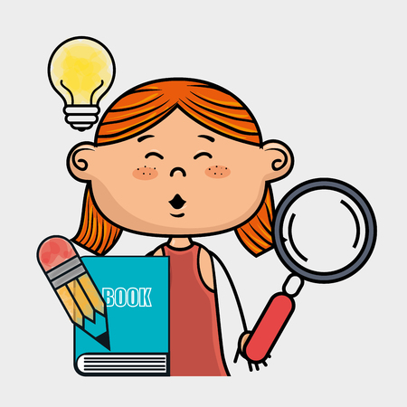 redhair: girl book pencil icon vector illustration graphic