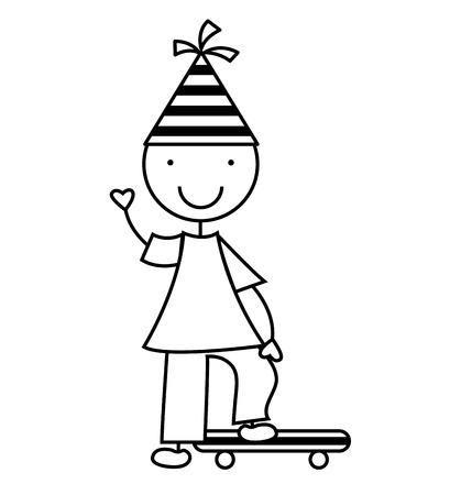teen boy: children with party hat celebration vector illustration design Illustration