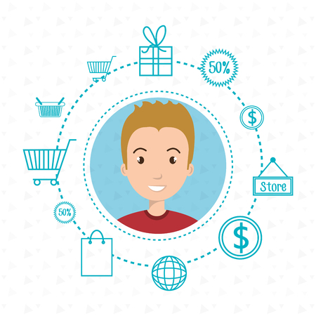 icon collection: character money buy web vector illustration graphic Illustration