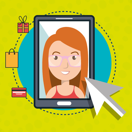 woman smartphone: woman smartphone shopping online vector illustration graphic