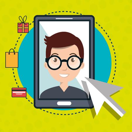 man smartphone shopping online vector illustration graphic Illustration