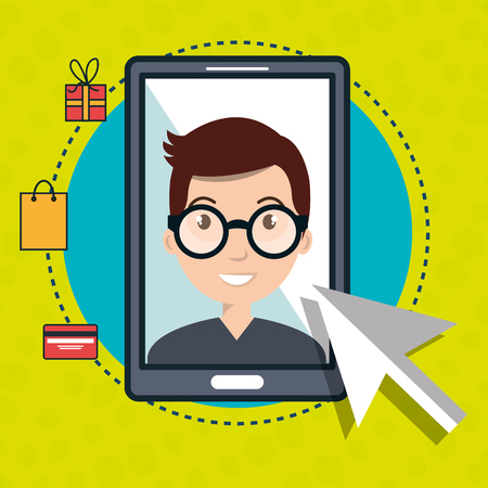 man smartphone shopping online vector illustration graphic Illustration