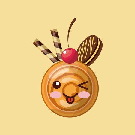 celebration smiley: sweet cupcake design, vector illustration graphic