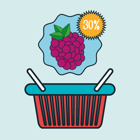 basket red buy fruit vector illustration icon Illustration