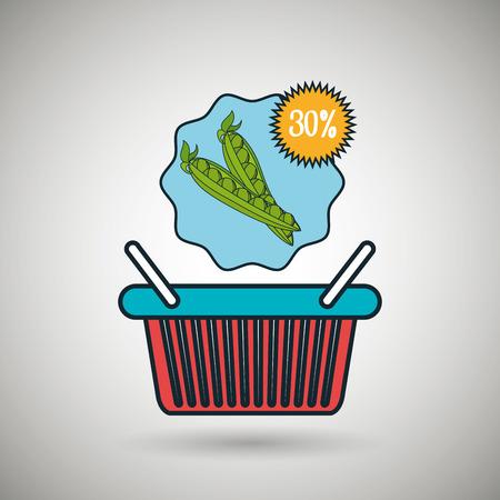 cesta compra de fruta roja ilustración vectorial icono