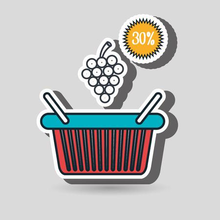 grocer: basket red buy fruit vector illustration graphic Illustration