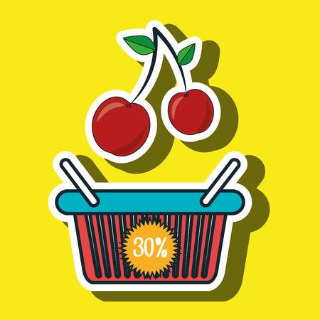 grocer: basket red buy fruit vector illustration icon Illustration