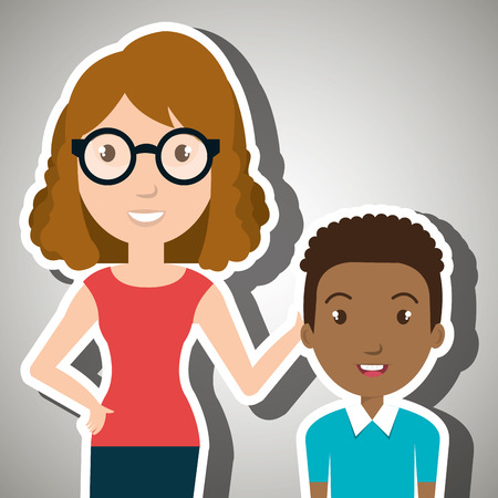 school age: teacher student school teenage vector illustration graphic