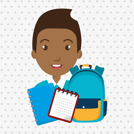 lesson: bag student notebook notepad vector illustration graphic