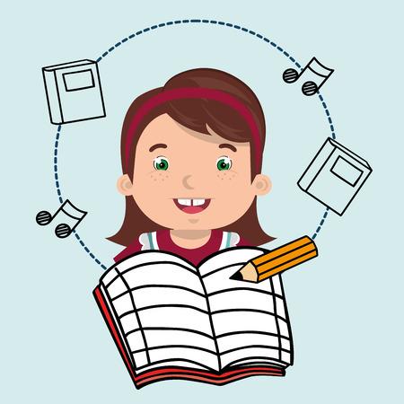 student music notebook pencil vector illustration graphic Illustration