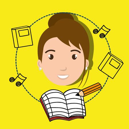 musical score: student music notebook pencil vector illustration graphic Illustration