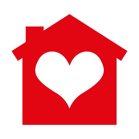 Casa del corazón de la silueta aislado icono de ilustración vectorial de diseño Foto de archivo - 61150910