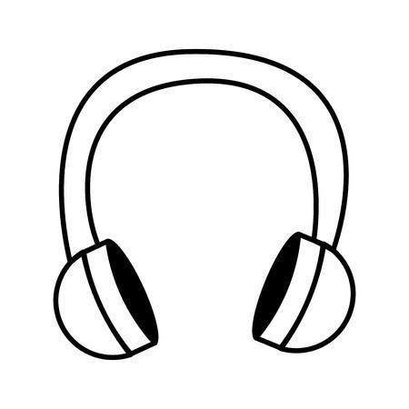 musique de fil écouteurs conception icône vecteur illustration