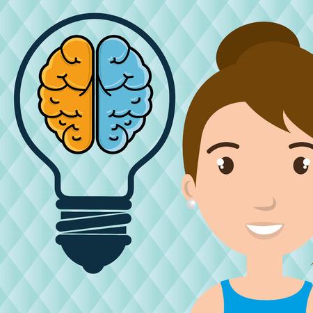 science symbols metaphors: character idea brain icon vector illustration graphic