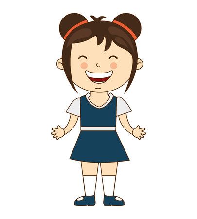 juniors: happy girl student uniform isolated vector illustration design Illustration