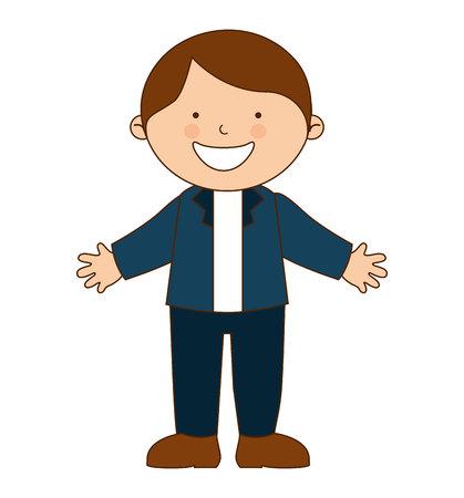 juniors: happy boy student uniform isolated vector illustration design