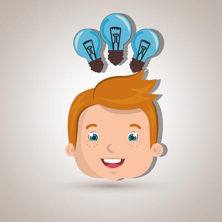 child student idea bulb vector illustration graphic