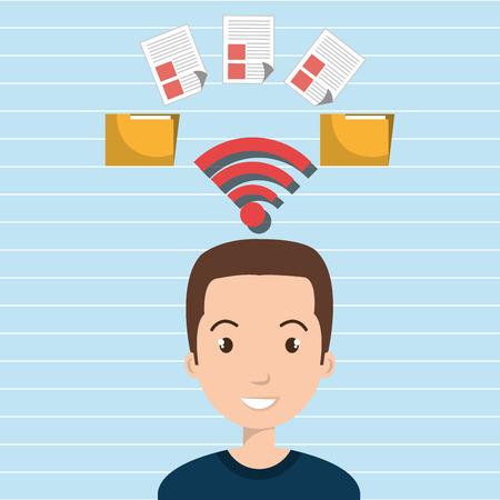 man wifi file document vector illustration graphic