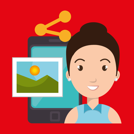 microblogging: character sharing smartphone image vector illustration graphic Illustration