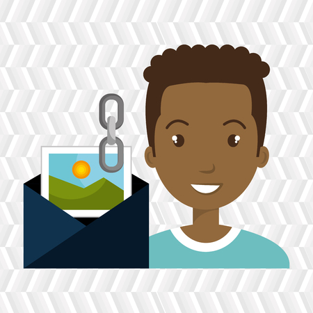 man envelope links photo vector illustration graphic