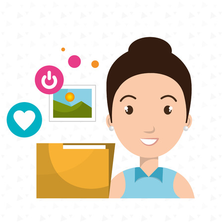 woman folder photo web vector illustration graphic