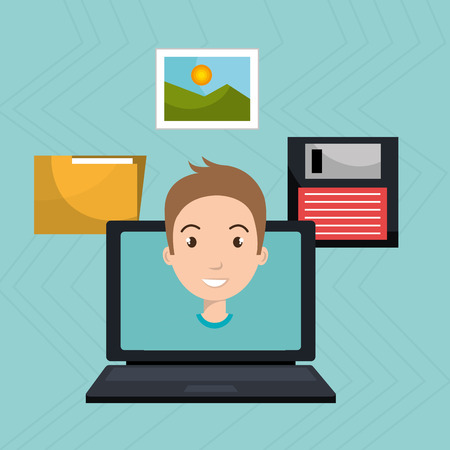 man with laptop: man laptop floppy folder vector illustration graphic