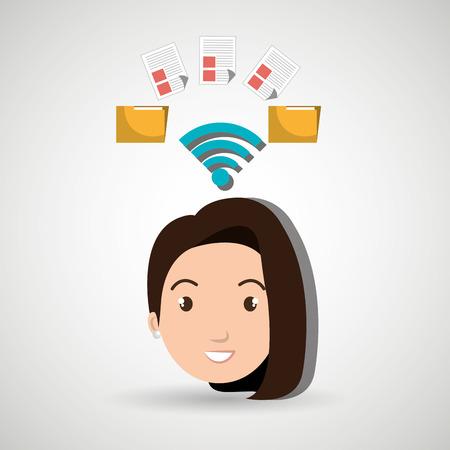 woman wifi file document vector illustration icon