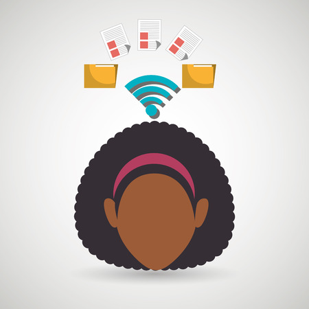 checking: woman wifi file document vector illustration icon