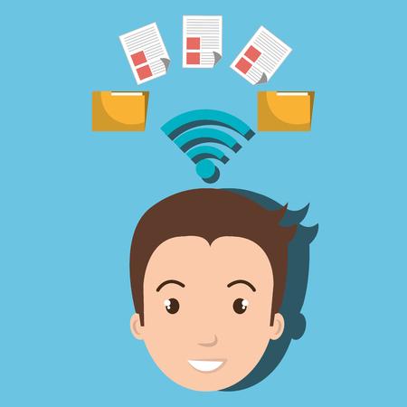 man wifi file document vector grafische illustratie