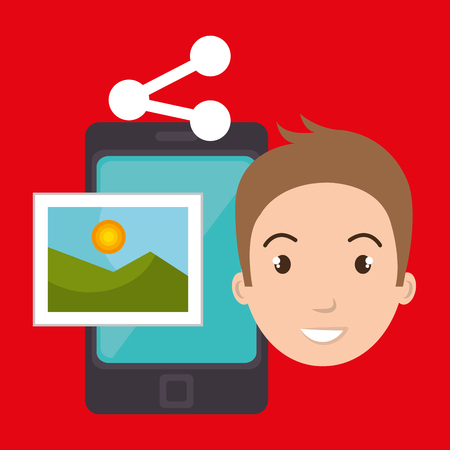 character sharing smartphone image vector illustration graphic Illustration